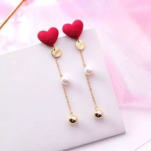 Jewelry - NEW! Red Heart Pearl Gold Dangle Drop Earrings!